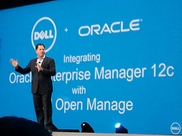 @MichaelDell announces @ Dell #openmanage integration with #oracle Enterprise manager at #oow13 #oracle http://twitter.com/doug_taylor/status/382898023753199617/photo/1