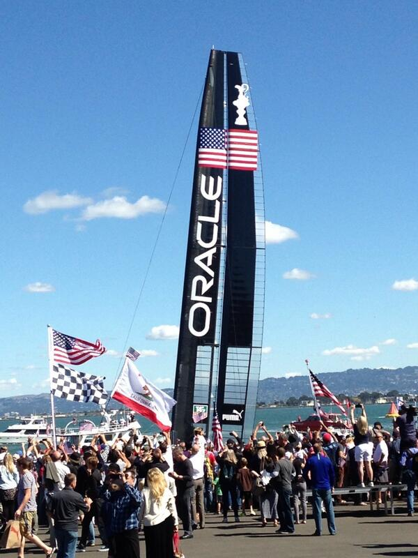Oracle boat heading out for final race.  Great day for San Francisco. Go Team USA! #AmericasCup http://twitter.com/MarkFarrellSF/status/382945910356836352/photo/1