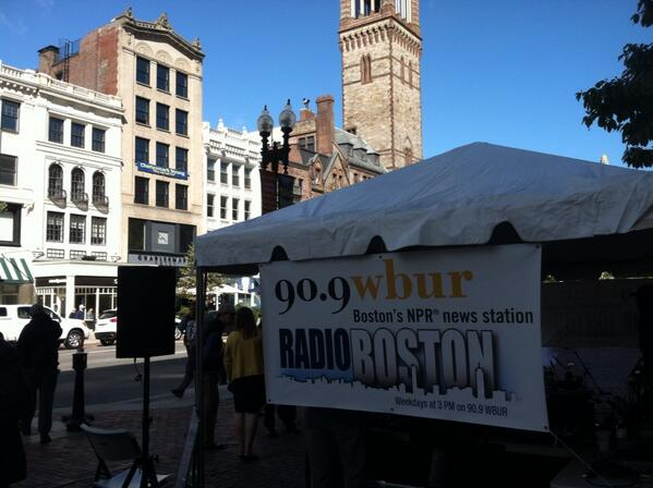 Our setup on Boylston Street in Copley Square for today's live broadcast of @RadioBoston on @WBUR! Starts 3p http://twitter.com/SachaPfeiffer/status/382927332622606336/photo/1