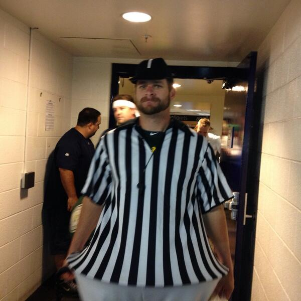 One more from rookie dress-up: Stephen Vogt, whose nickname is already The Referee. http://twitter.com/susanslusser/status/383008612022755328/photo/1