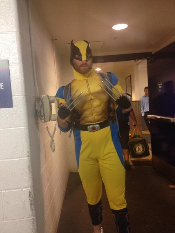 Straily as Wolverine on rookie dress-up day RT: @JaneMLB Straily http://twitter.com/JaneMLB/status/383003789654913024/photo/1