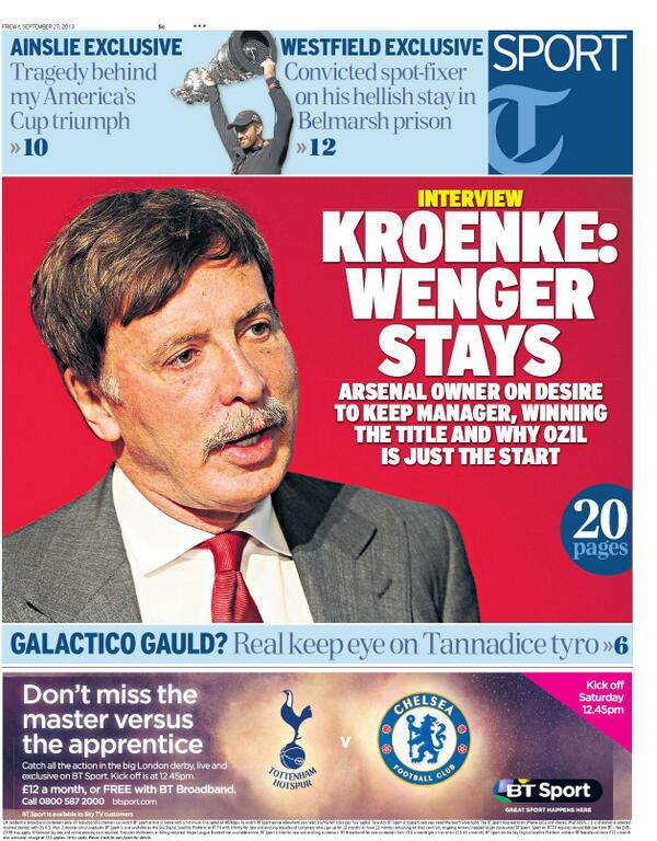 Stan Kroenke interview in Fridays Daily Telegraph: Wenger Stays