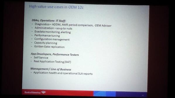 #em12c Bank of America guys talking about Enterprise Manager12c at oow2013 http://twitter.com/harisrinivasan/status/383348858803077121/photo/1