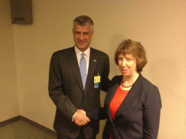 #EU High Rep #Ashton meets Kosovo Prime Minister Hashim Thaci on margins of #UNGA http://twitter.com/EUHighRepSpox/status/383638573263507456/photo/1