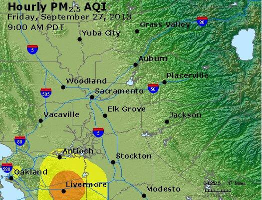 Most recent regional #AirQuality map shows no local ground-level smoke impact from the Winters hay fire. http://twitter.com/YoloSolanoAir/status/383634759198330880/photo/1