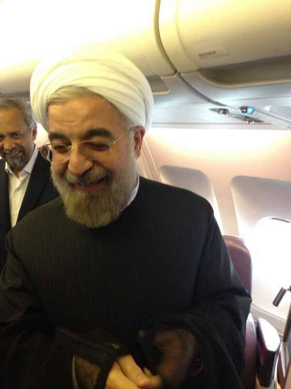 After historic phone conversation with @BarackObama, President #Rouhani in plane abt to depart for Tehran. #UNGA http://twitter.com/HassanRouhani/status/383689140174200832/photo/1