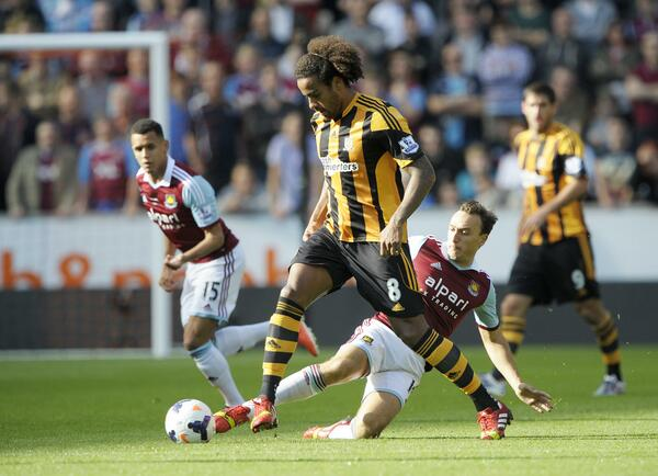 PIC: Mark Noble slides in to tackle Tom Huddlestone. #COYI #WHULIVE http://twitter.com/whufc_official/status/383964448978780160/photo/1