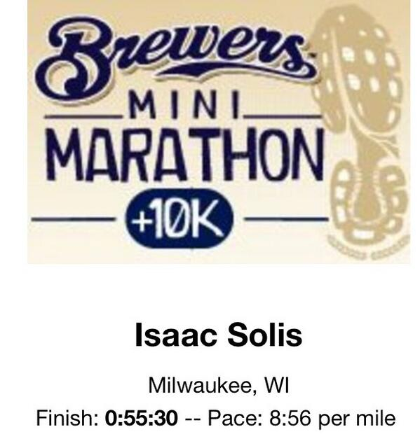 Official time from today's 10k. It was a blast running thru @Millerpark #BrewersMini http://twitter.com/1saacs/status/383974605741780993/photo/1