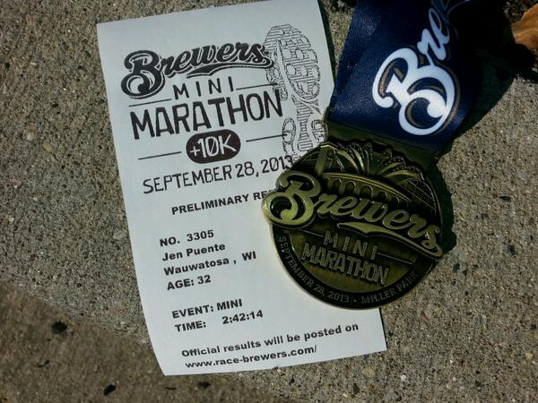 Second half marathon in the books! #brewersmini http://twitter.com/HelloMsPuente/status/383983343450091521/photo/1