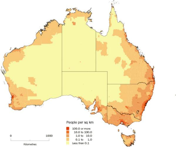 Population Map Of Australia 2013.Amazing Maps On Twitter Australia S Population Density Http T Co
