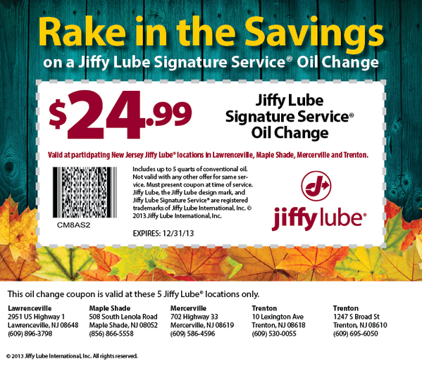 Jiffy lube coupons oil change nj