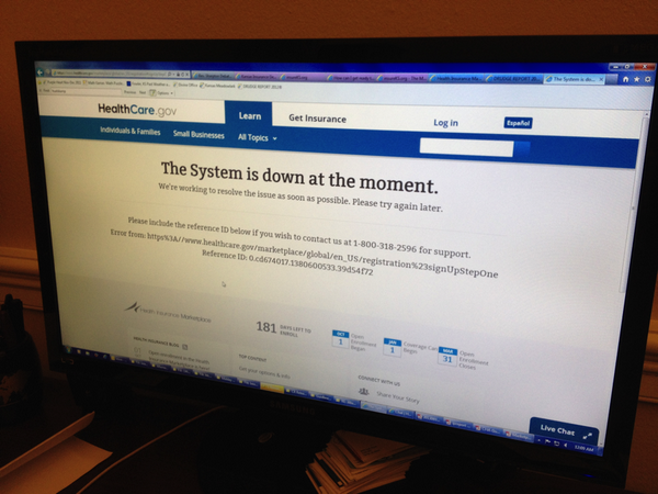It's 12:09 a.m. EDT and the #ObamaCare exchanges do not work. #Glitch http://twitter.com/CongHuelskamp/status/384894011040727040/photo/1