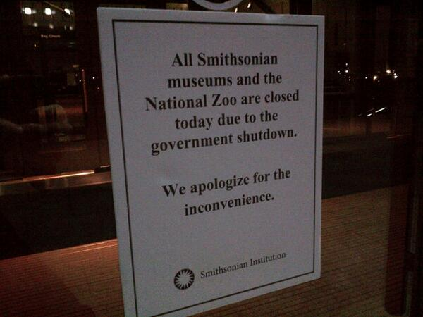CLOSED: This sign posted to the front of all Smithsonian museums today. #shutdown http://twitter.com/PeterAlexander/status/384991991370498048/photo/1