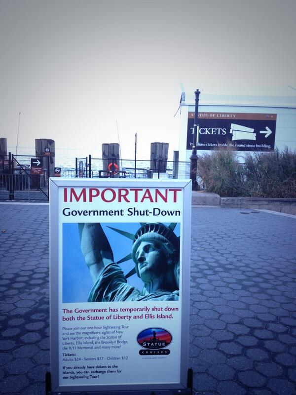The Statue of Liberty and Ellis Island are closed due to shutdown http://twitter.com/stephen_nessen/status/385007537638367232/photo/1