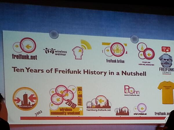 10 years of Freifunk at #IS4CWN right now! Pioneers in community tech. http://twitter.com/NinanMoses/status/385414787913748480/photo/1