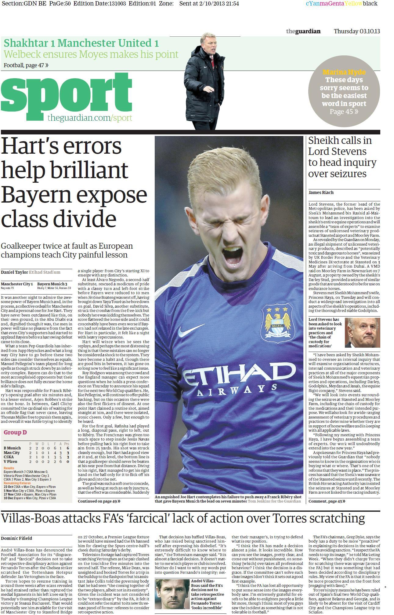 Tomorrows Guardian puts the blame on Joe Hart for Manchester City defeat