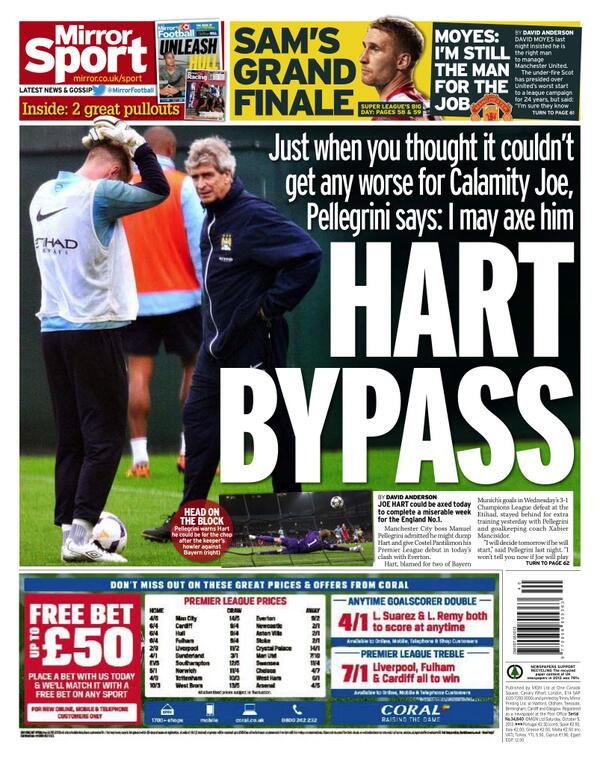 Saturdays Mirror Sport front page: Hart Bypass   City boss Pellegrini could drop England No.1