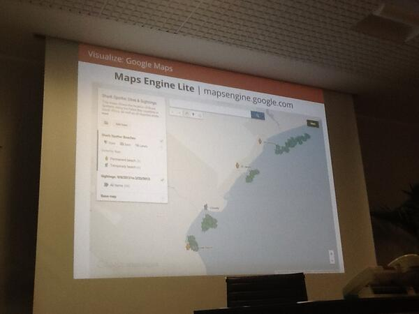 .@vanessagene presenting maps engine lite mapsengine.google.com at #editorslab http://twitter.com/GENInnovate/status/386441518351134720/photo/1