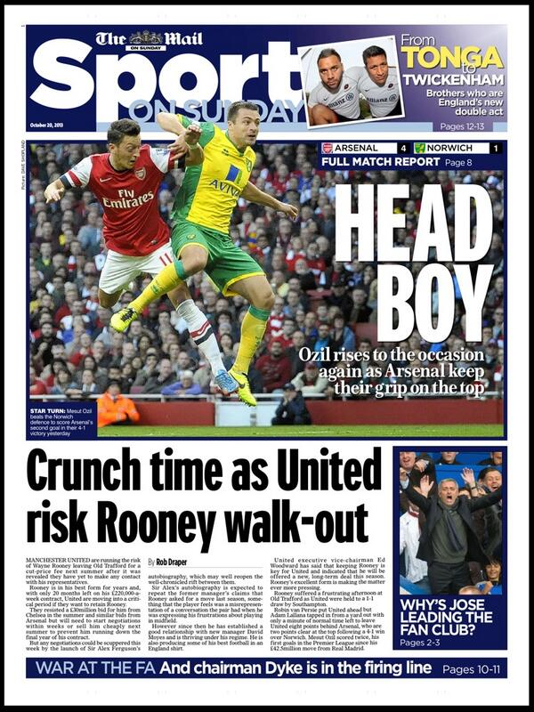 Mail on Sunday fart Manchester United are in risk of losing Wayne Rooney, but player has 20 months left on his contract!