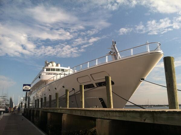 David Geffen yacht at Charleston City Marina. http://twitter.com/PrentissFindlay/status/391689709094592512/photo/1