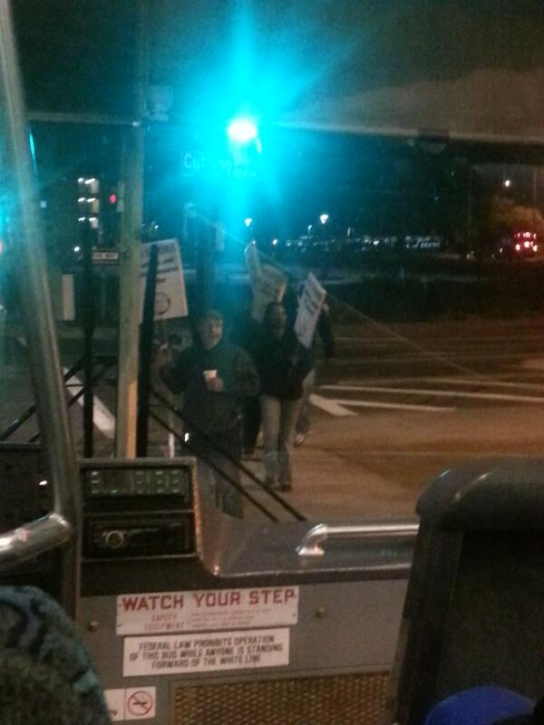 "It's a pretty quiet and peaceful #SF #BARTstrike right now. Bus lady to a rider ""You don't have to run. It's ok."" http://twitter.com/EliseVue/status/391186231167422464/photo/1"