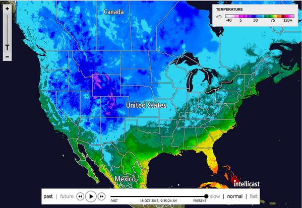 Intellicastcom Intellicast Twitter - Intellicast us temperature map