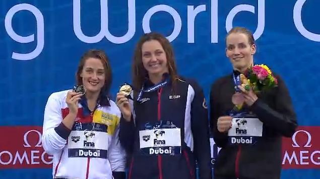 Melani Costa oro en los 400 metros libres y Mireia Belmonte plata 400 m libres 200 mariposa 400 estilos en World Cup Dubai 2013 Video