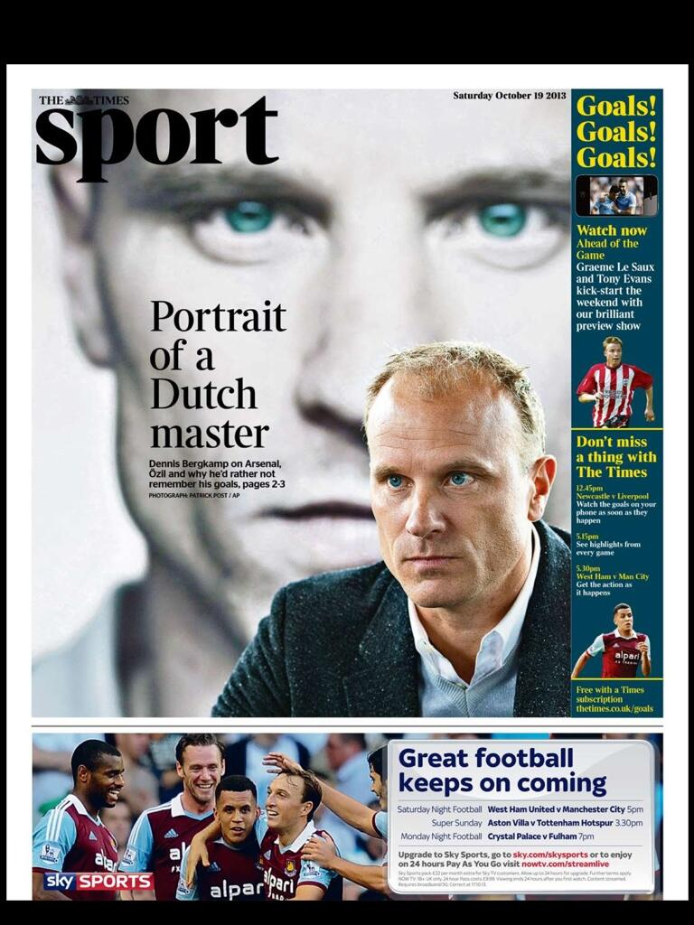 Saturdays Times Sport: Portrait of a Dutch Master   Interview with Dennis Bergkamp