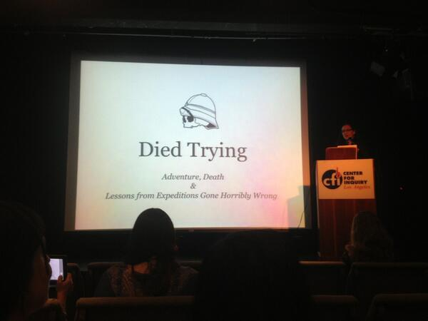 """Welcome to #DeathSalonLA and our first presenter Anetta Black talks about tragedies of exploration--""""died trying"""" http://t.co/X3XtHyaVZe"""