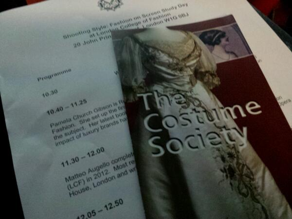 """Today, I'll be tweeting from the @costume_society's study day """"Shooting Style: Fashion on Screen"""" #shootingstyle http://twitter.com/lipsticklori/status/391498178291593216/photo/1"""