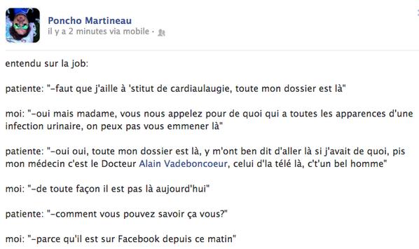 """Alain Vadeboncoeur on Twitter: """"Vraiment drôle! Post de Poncho Martineau, paramédic, sur FB ..."""