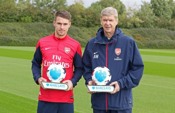 Arsene Wenger and Aaron Ramsey named Premier League manager and player of the month