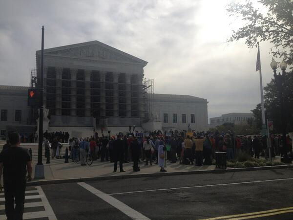 "Large crowd outside the Supreme Court to say ""Democracy is not for sale!"" #McCutcheon http://twitter.com/Public_Citizen/status/387582903510892544/photo/1"
