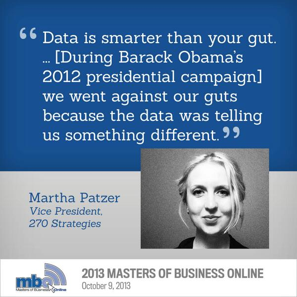 Data is smarter than your gut - @MarthaPatzer