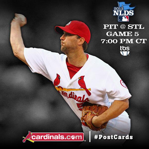 Today is the day! Game 5 starts at 7pm CT with Wainwright on the mound. #PostCards http://twitter.com/Cardinals/status/387955711353053185/photo/1