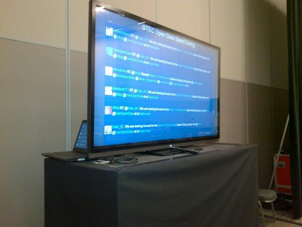 The Twitterfall big screen is live at #Gtec13 #OpenData Speed Dating showing tweets to HT #gtecdata Say Hello! http://twitter.com/6t6qt/status/387968047761211392/photo/1