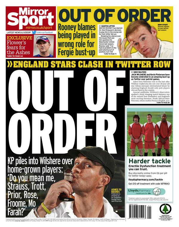 Thursdays back pages slaughter Jack Wilshere following Twitter spat with Kevin Pietersen