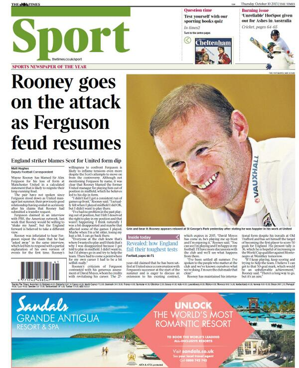 Man Uniteds Wayne Rooney reignites Fergie feud, blaming the Scot for his poor form last season [Times]