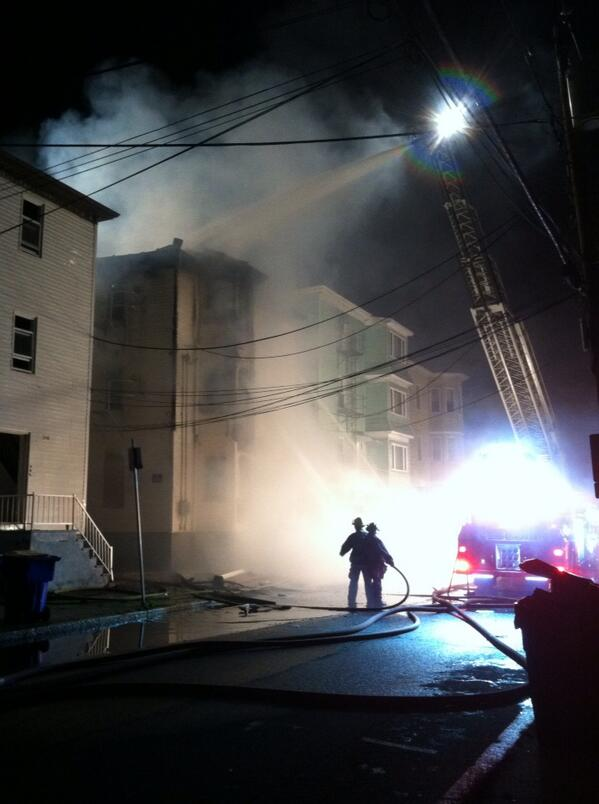 Fall River: 266 Quequechan, 2 alarms in a vacant, fire to exp, bldg compromised, hvy smoke, ACW #fox25 #wbz4 http://twitter.com/mpark14news/status/388237611015221248/photo/1