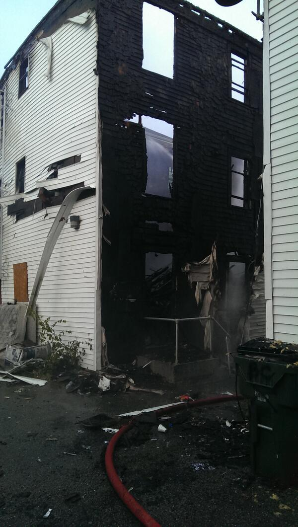 All the floors in the rear are burnt out wrecking company on scene http://twitter.com/FallRiverFire/status/388258797359484928/photo/1