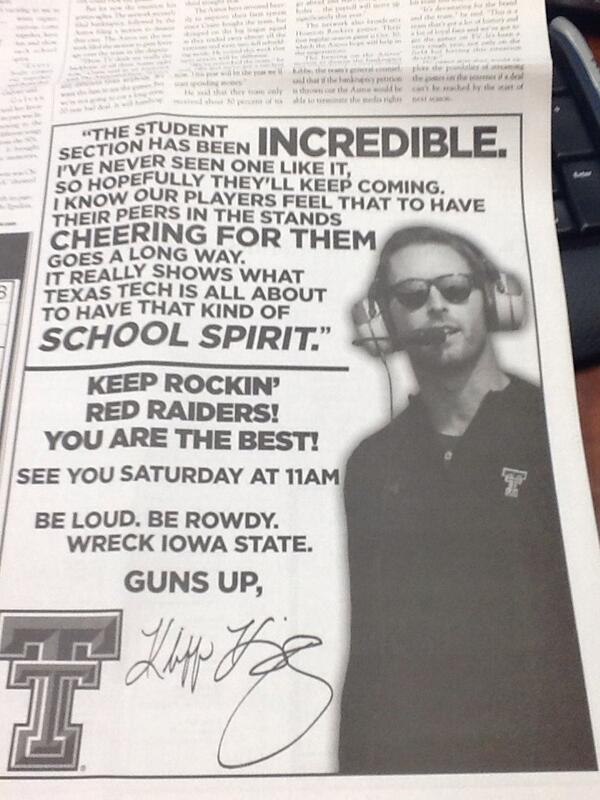 Ad in today's @DailyToreador from Kliff Kingsbury thanking the @TexasTech students. #ridetogether @TechAthletics http://t.co/izgF7ASEcQ