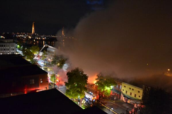 Terrible to see New West in flames. RT @nikonrachel: Fire on downtown Columbia, woke up to this downstairs!! #NewWest http://twitter.com/nikonrachel/status/388309632331960321/photo/1