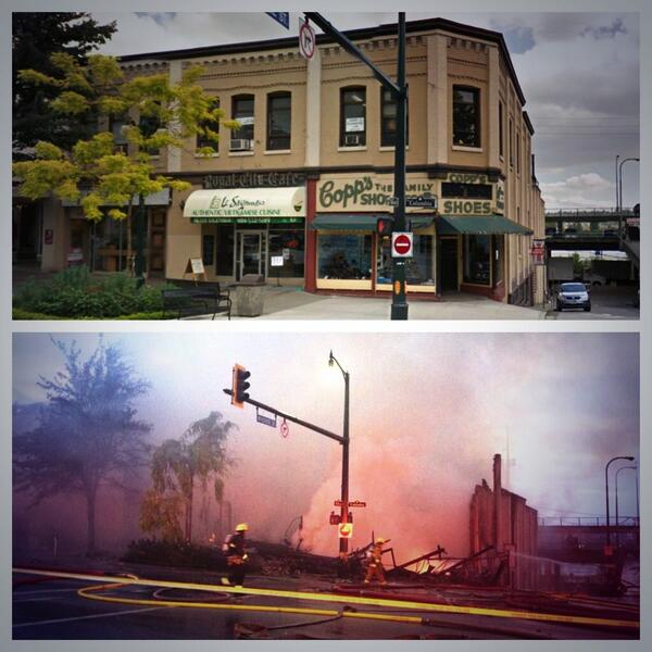 Copp's Shoe Store; before and after the fire #newwest #newwestfire http://twitter.com/Mondor13/status/388310862588424194/photo/1