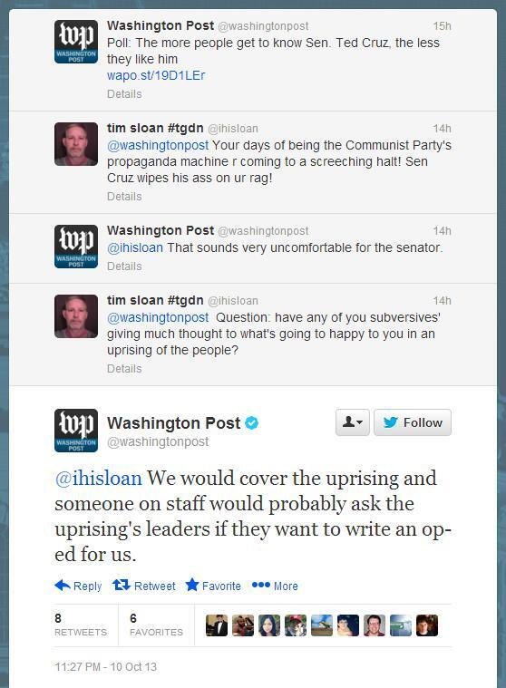"WaPo FTW RT @themarkberman: ""We would cover the uprising."" Twitter is fun. https://t.co/iCvGT5uGxR pic via @wexler"