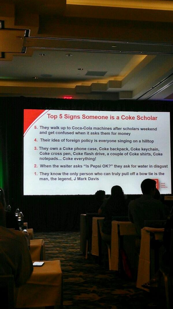 The top 5 signs you know someone is a Coca-Cola Scholar #CCSLS13 @cokescholars #openhappiness @CokeScholarsLS http://twitter.com/dargov_/status/389012192282300416/photo/1