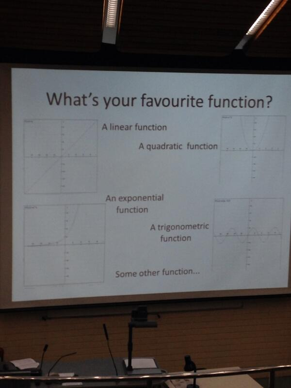 It's not every day you walk into a room and see a question like this. I love it :) #mathsfest http://twitter.com/pamelaaobrien/status/389042101524000768/photo/1