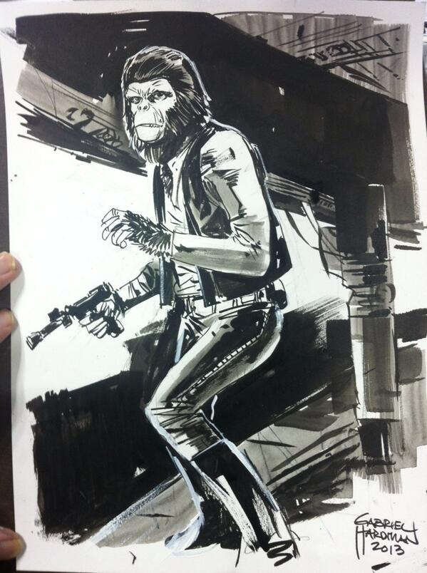 Ape Han Solo sketch at #NYCC. Look, it was going to happen. I'm in Artist Alley at table K9. http://twitter.com/gabrielhardman/status/389097367477440512/photo/1