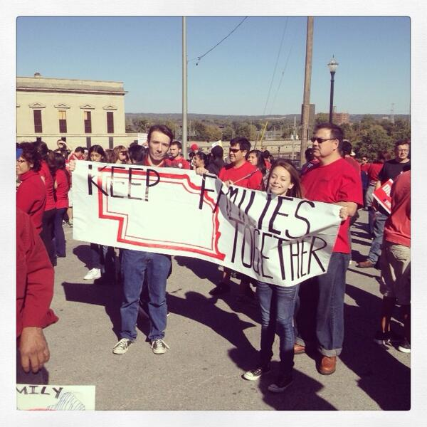 Today Nebraskans are marching to keep families together with updated #immigration laws #TimeIsNow http://twitter.com/neappleseed/status/389117341692219393/photo/1