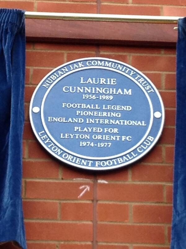 The blue plaque unveiled today at Leyton Orient for Laurie Cunningham