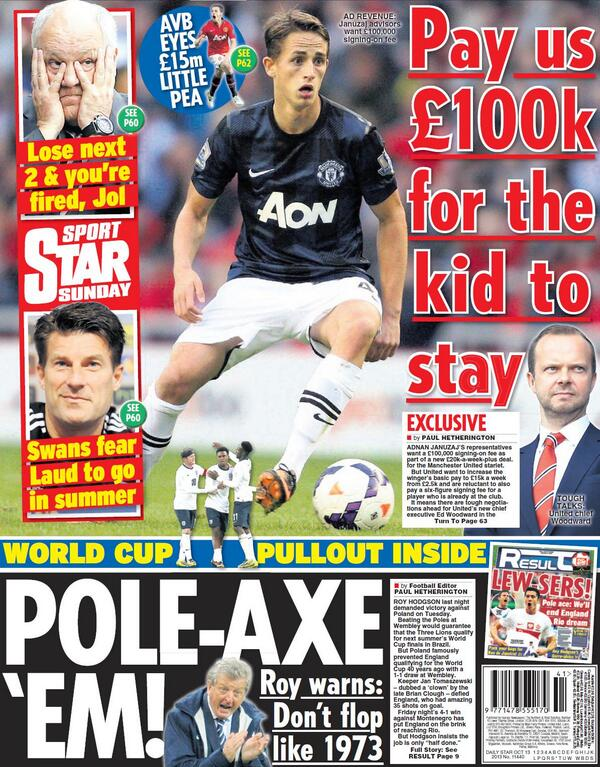 Adnan Januzajs representatives ask Man United for £100k signing on fee [Daily Star Sunday]
